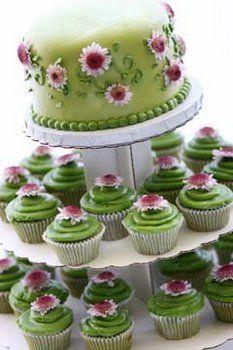 Flowers, Cake, Green, Wedding, Cupcakes, Daisies, Sage