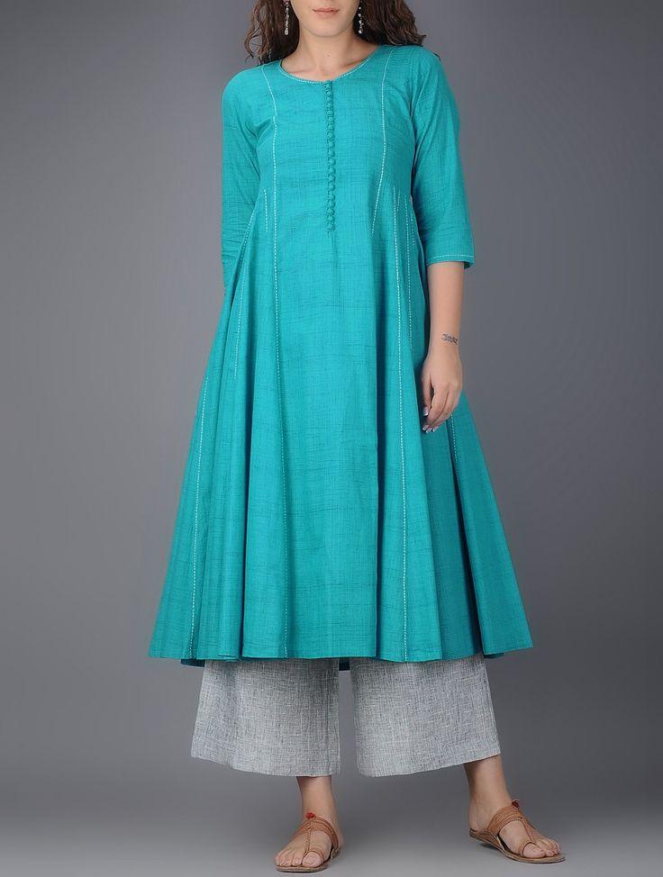 Buy Blue Kalidar Cotton Kurta with Tanka Work Women Kurtas Color Stories pants tunics and dupattas interesting details Online at Jaypore.com