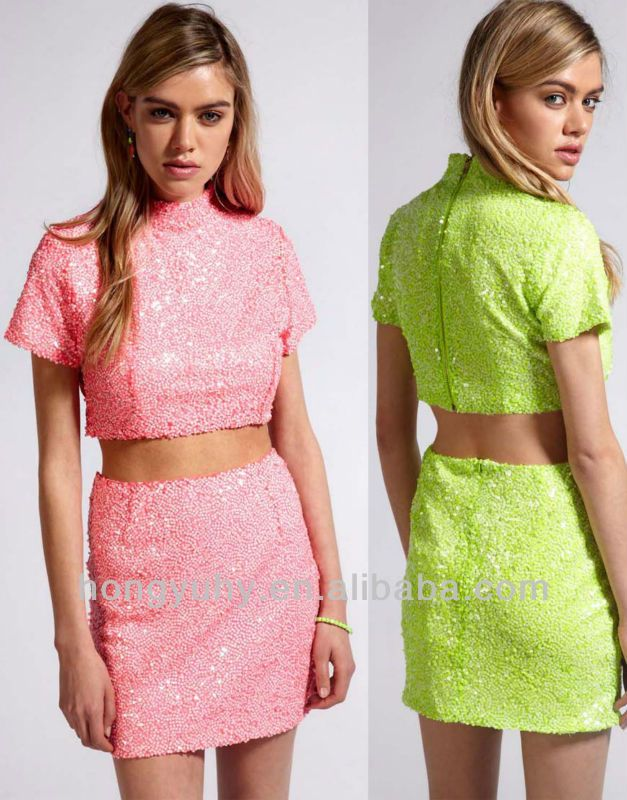 bayan pembe payet etek güzel butik Neon Mini - Neon sequin mini dress