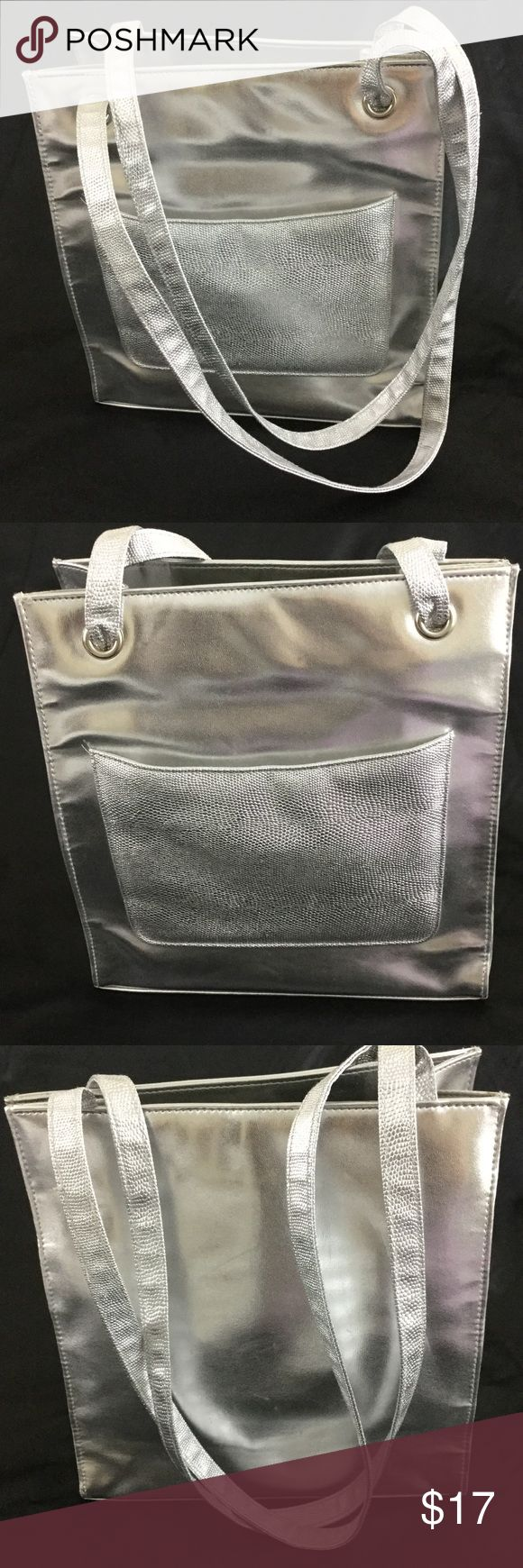 "Silver tote bag Silver tote bag for a futuristic flair, dimensions are 10.75"" wide, 11.25"" tall not counting the 33"" long straps, 4"" deep boutique Bags Totes"