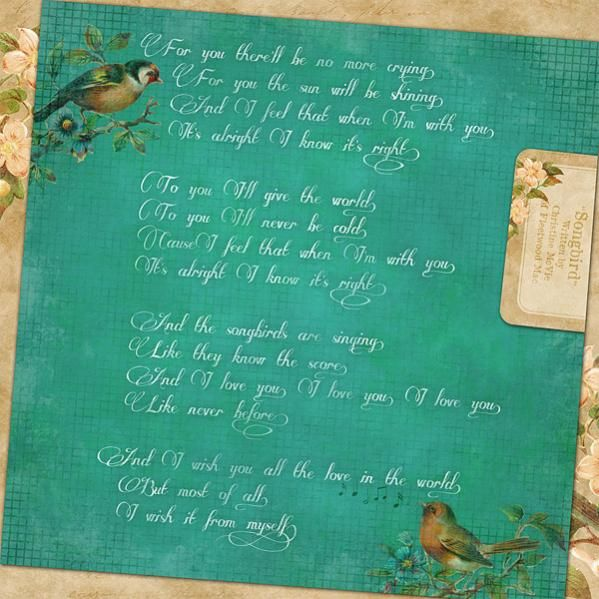 Songbird By Christine McVie Of Fleetwood Mac Will Always Be One My Favorite Songs