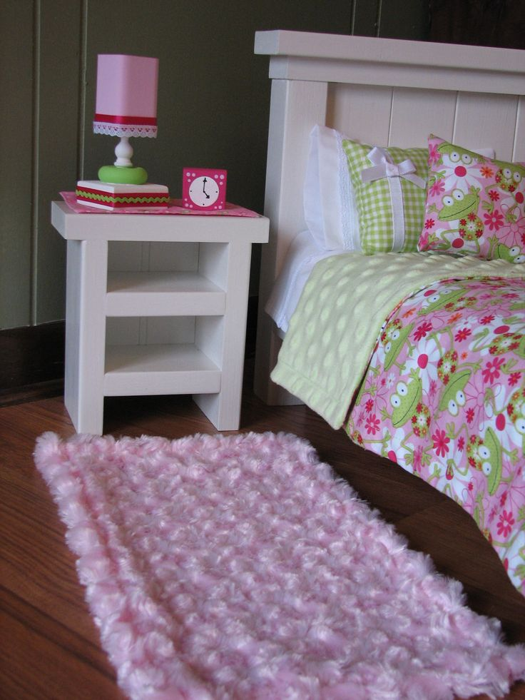 "American Girl sized / 18"" doll Bedroom Accessories - Nightstand / Runner / Lamp / Alarm Clock / Rug. $40.00, via Etsy."