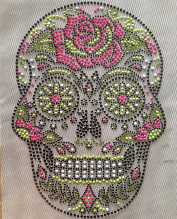 Rhinestone Transfer Skull Skeleton rainbow color Rhinestone Iron On Hot Fix Heat Transfer Appliqué - DIY