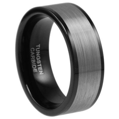 9mm Tungsten Carbide Wedding Men Black Ring Band Size $199.00 mens wedding bands