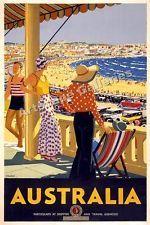 1930's Vintage Beach Travel Poster - Australia - 16x24
