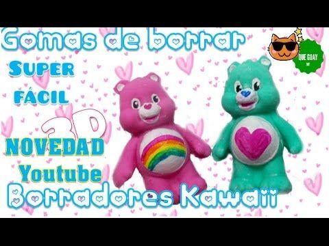 Haz BORRADORES CASEROS ♥3d Kawaii,copiando cualquier figurita.Gomas de borrar DIY - YouTube