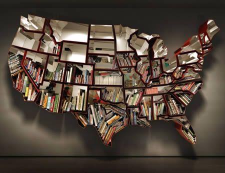 USA book shelf: Idea, Bookshelf Design, 50 States, Cool Bookshelves, Ron Arad, Book Shelves, U.S. States, United States, Creative Bookshelves