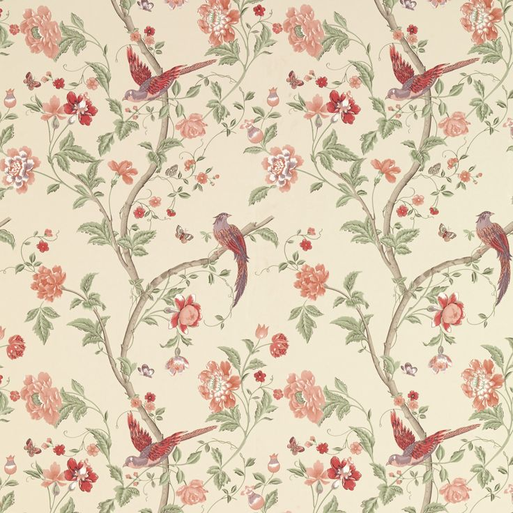 Laura Ashley summer palace cranberry wallpaper. Going on the back wall behind the bed