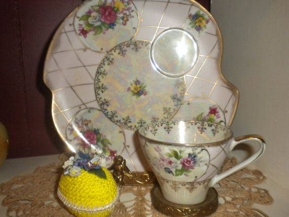 Victorian teacup and extra large saucer/ pastry
