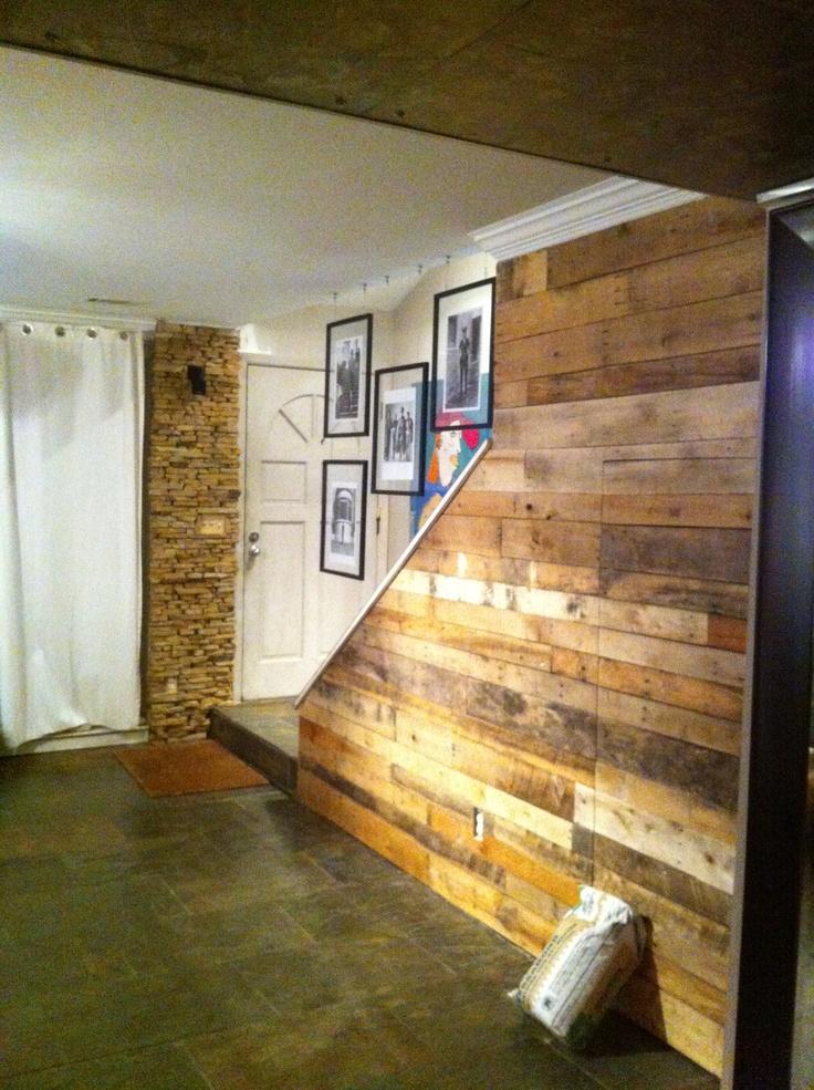 Pallet Wall Installation With Hidden Door Hardware Door