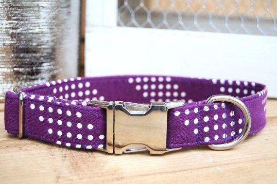 Purple Dog Collar Polka Dot Pet Collar Female Dog by WalkintheBark