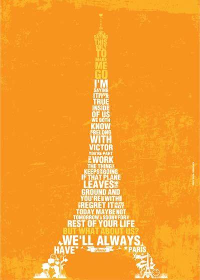 Casablanca Movie Quote Poster Casablanca Art Print Typography in Orange - size A3 poster art print - movie classic quote from Casablanca. $23.00, via Etsy.