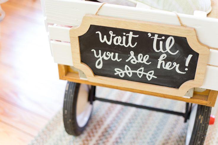 Wagon for baby flower girl | rustic wedding | summer wedding | wedding signage