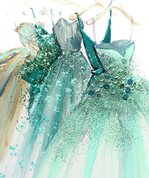 fashion illustration art print of green blue gold hue designer couture evening ball gowns by Katie Rogers (mw)