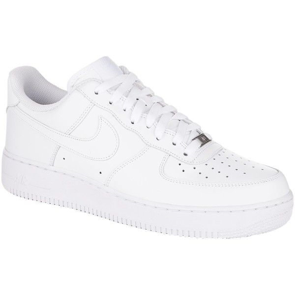 Nike Air Force One Low Sneaker ($98) ❤ liked on Polyvore featuring shoes, sneakers, nike footwear, perforated shoes, nike sneakers, nike trainers and leather upper shoes