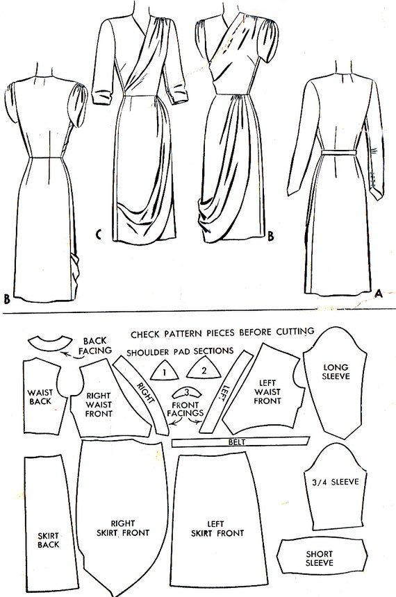 1940s Evening Dress Pattern McCall 6933 Surplice by paneenjerez