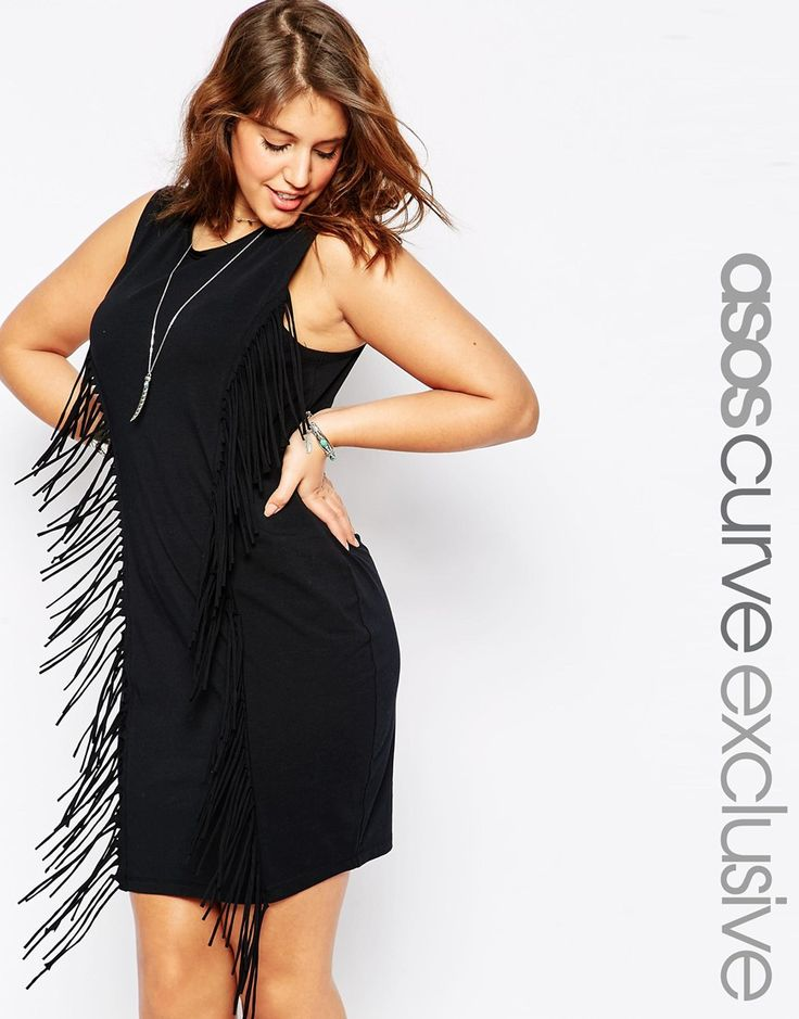 ASOS CURVE Festival Body-Conscious Dress with Fringing