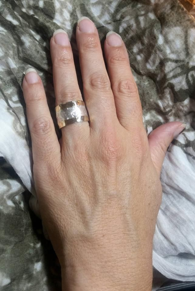 Unique Wide Wedding Band For Women Silver Gold Ring Wide