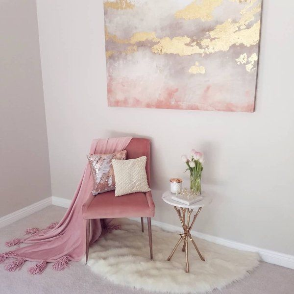 Pink Gold Wall Art Perfect For You Living Room Or Bedroom Girly Art Wall Art Art Prints Watercolor In 2020 Gold Wall Art Art Deco Bedroom Pink Abstract Art