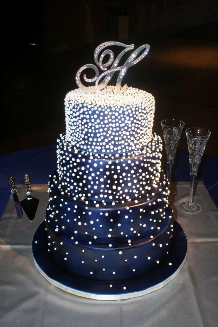 Le torte nuziali blu più belle - Torta blu a pois