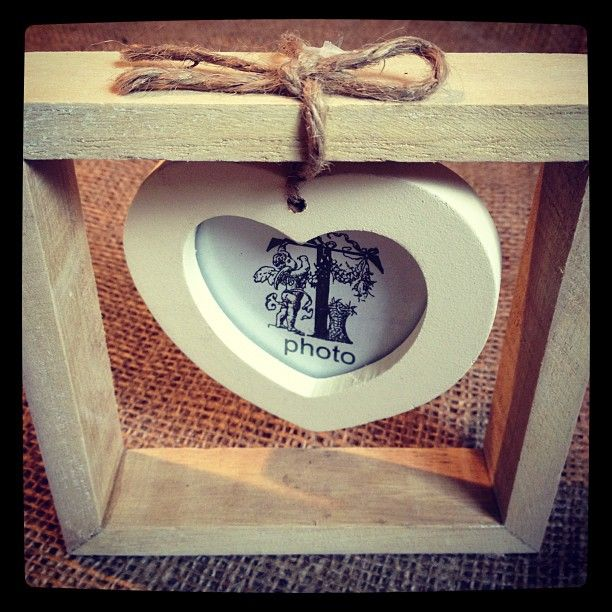 Very Simple yet effective Hanging Heart photo Frame Matches the twin frame in the same range Heart tied with twine Natural Cream approx 13