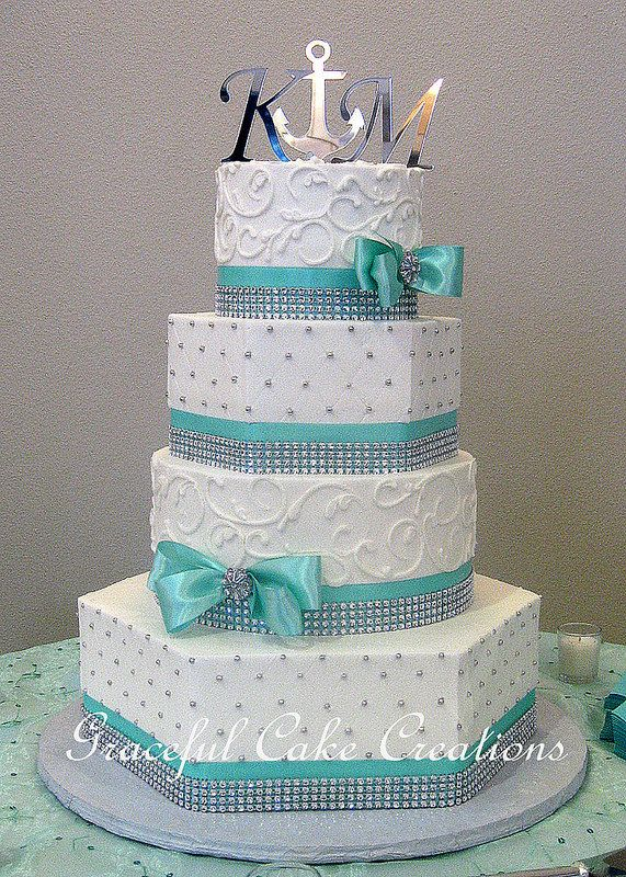 Elegant Mixed Shape White Butter Cream Wedding Cake with Tiffany Blue Ribbon and Silver Rhinestones