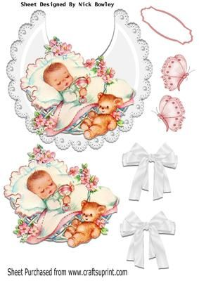 Sleep little one baby girl on white lace bib with bows on Craftsuprint - Add To Basket!