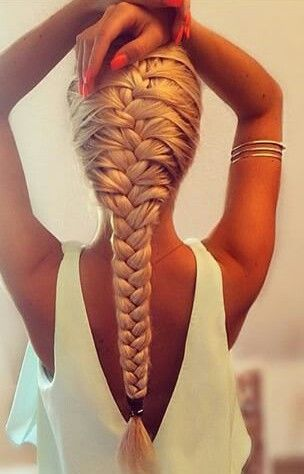 Really the perfect French braid. I can't wait until the boyfriend's hair is close to this long. His hair is really dark and sleek and looks great braided, and will look amazing long.