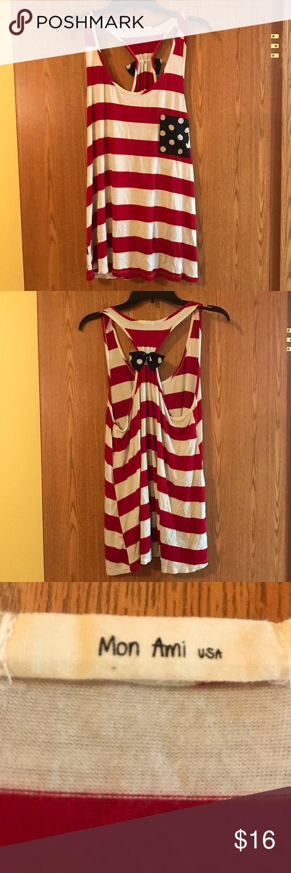 Mon Ami Patriotic Tank Top Red, white, and blue adorable patriotic tank. Only worn once, perfect shape! Mon Ami Tops Tank Tops
