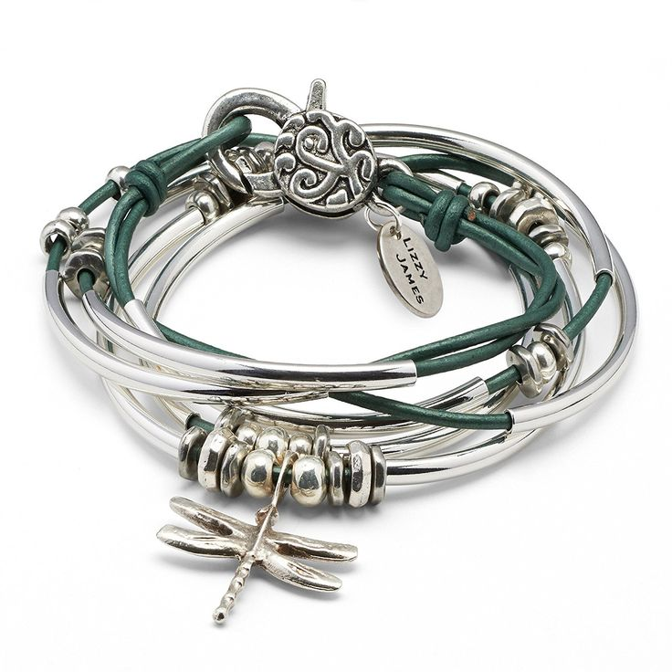 Dragonfly Silverplate Bracelet Necklace with Metallic Teal Leather Wrap by Lizzy James *** A special jewelry just for you to view. See it now! : Jewelry