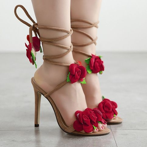 Pretty Red roses high-heeled shoes from Eoooh❣❣