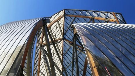 Foundation Louis Vitton -Paris - designed to resemble a cloud of glass the building form is provided by 12 curving sails made up of 3,600 glass panels