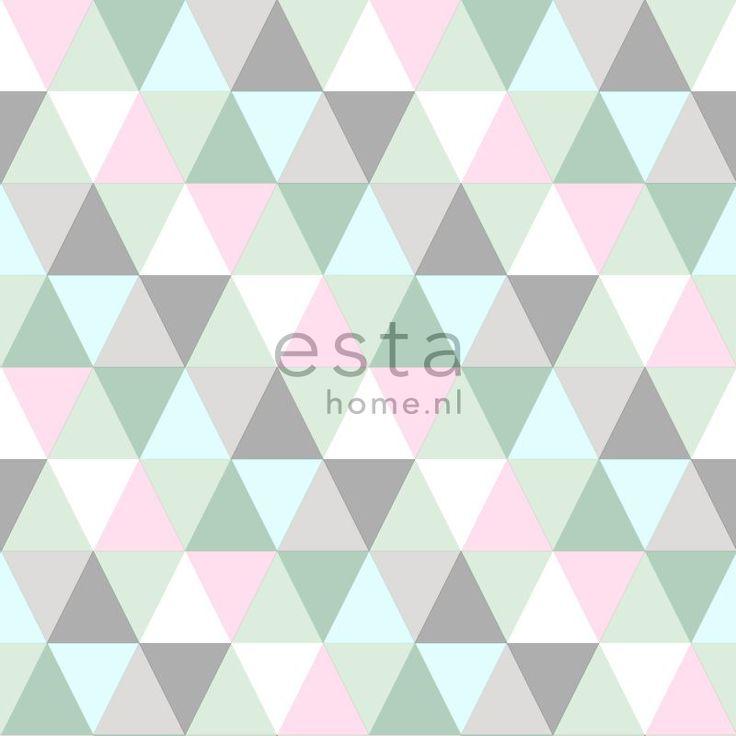 Tapetti Triangles 128706 0,53x10,05 m vaaleanpunainen, minttu, harmaa - Taloon.com