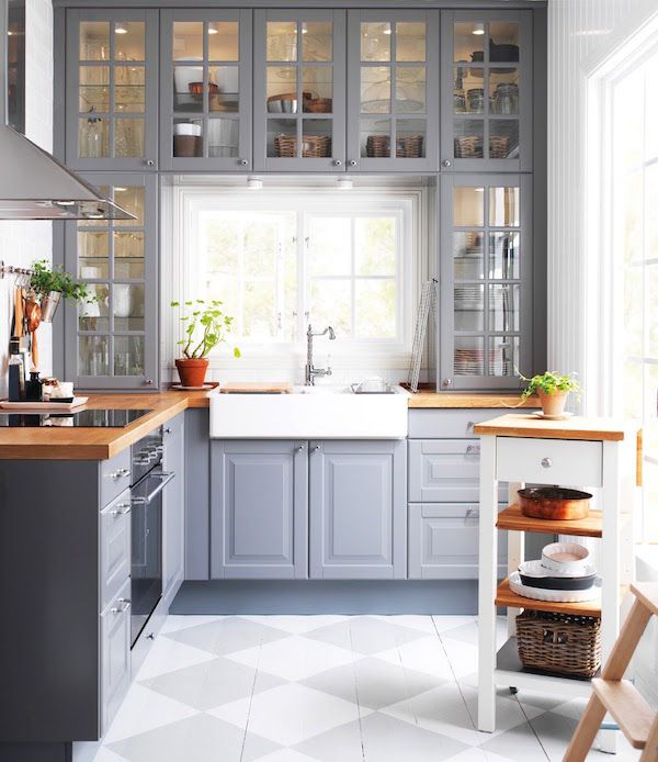IKEA #cabinets with #grey paint and butcher block wood #countertop