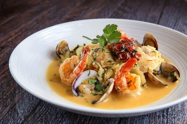 siete mares shrimp, clams, octopus, market fish, marble