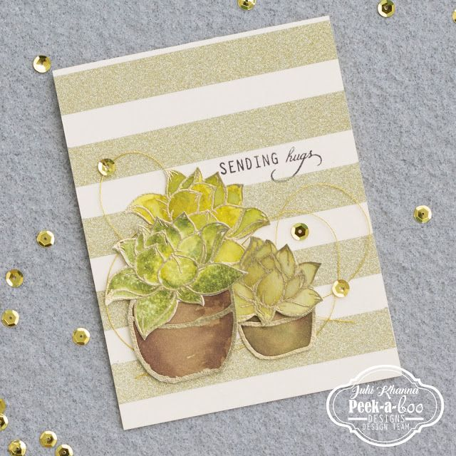 Gold striped background with Peek-a-boo stamps