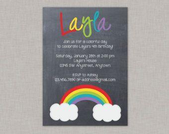 Rainbow Birthday Invitation Chevron Birthday Invitation