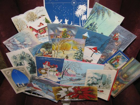 Christmas Blue 1940's Christmas Cards Retro  by TheIDconnection, $15.00