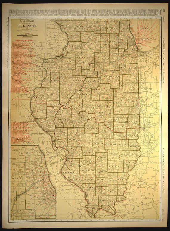 Illinois Map Illinois EXTRA LARGE Railroad Map Wall Art   Map Wall ...