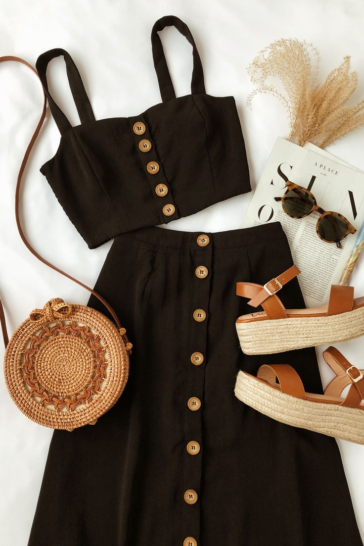 Incredibly This top-rated black two-piece dress set is perfect for warm weather. The woven …