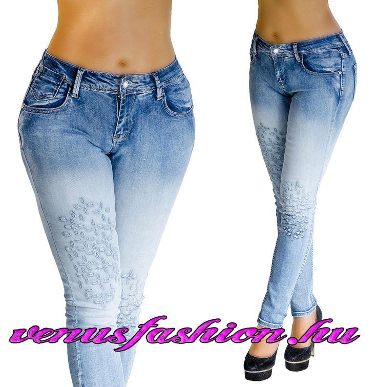 Divatos világoskék koptatott egyedi női farmer nadrág XS S M L - Venus fashion női ruha webáruház