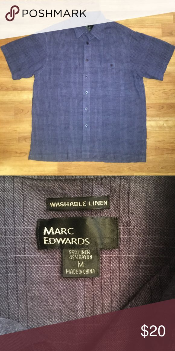 NWOT MARC EDWARDS washable linen dress shirt NWOT MARC EDWARDS washable linen shirt sleeves dress shirt. The first picture is representative of the true color is the shirt. It's a bright blue or gray color with black and gray lines that make a pattern. Size medium.  Never been worn. MARC EDWARDS Shirts Casual Button Down Shirts