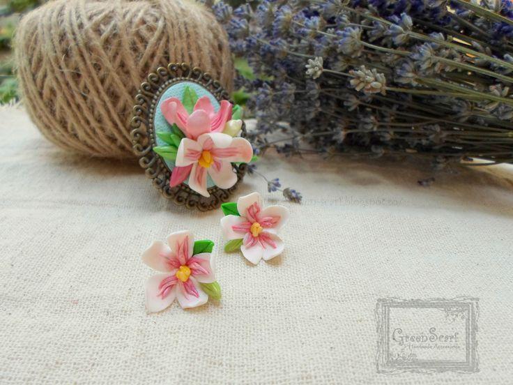 oleander polymer clay earrings