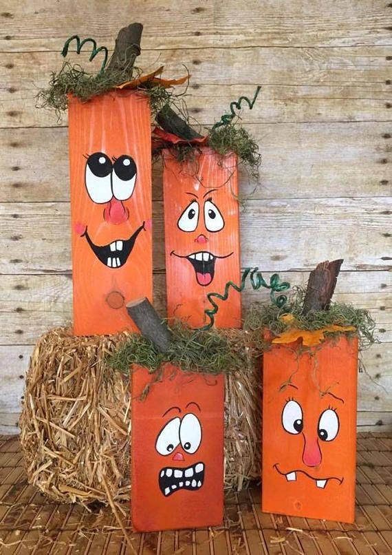 Wooden Pumpkins – Hand Painted Pumkins – Fall Decor – Pumpkin Blocks – Halloween – Pumpkins – Silly Face Pumpkins