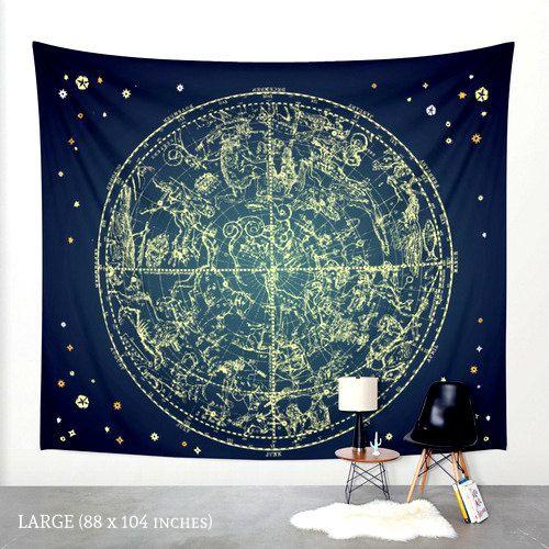 Zodiac Star Map Tapestry by PaperBoundLove on Etsy