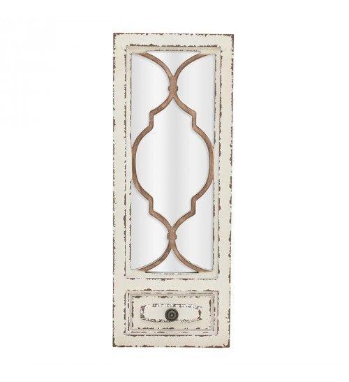 WOODEΝ MIRROR 'WINDOW' IN ANTIQUE WHITE 25X3X65