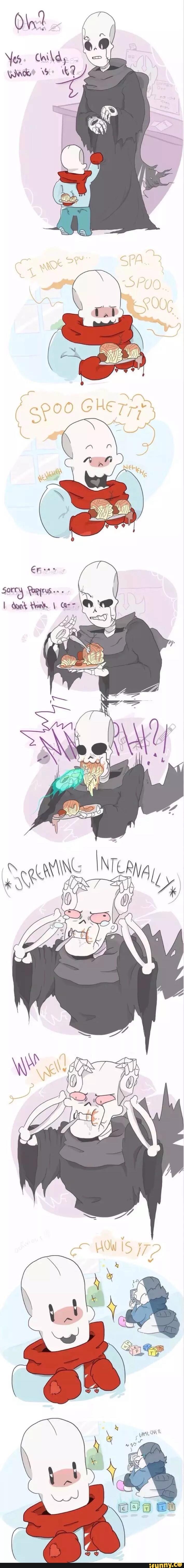 J'aime trop cette BD avec Sans sur sa ds XD Tu vas les manger ces spaghettis, oui ?!