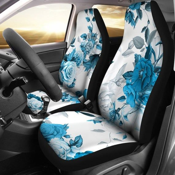 Floral Car Seat Covers Pair 2 Front Car Seat Covers Seat Cover For Car Car Seat Protector Car Accessory Floral Flowers Blue White In 2020 Car Seats Car Seat Protector Car Accessories