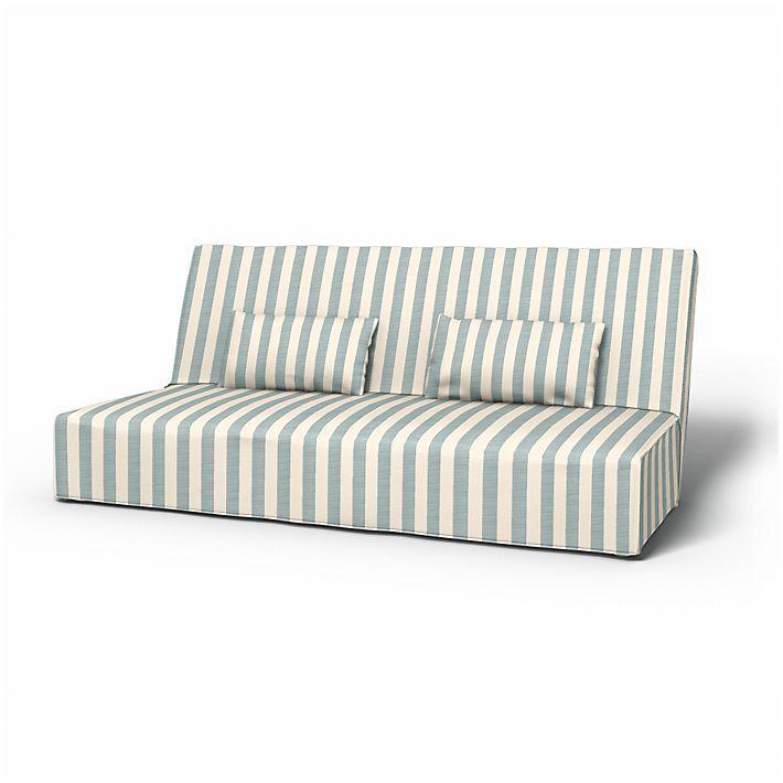 Beddinge, Sofabezüge, Bettsofa, Regular Fit bodenlang diesen Stoff anwenden Stockholm Stripe Mineral Blue/Soft White