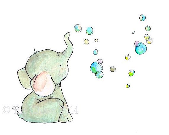 Children's Art Elephant Bubbles Art Print por trafalgarssquare